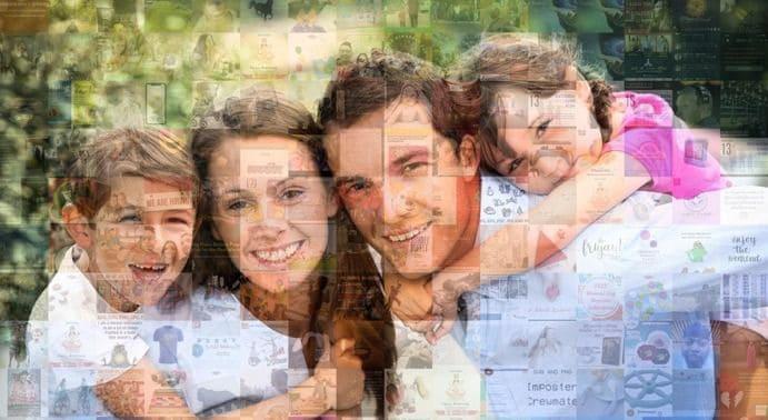 foto mozaik darilo vesela družina